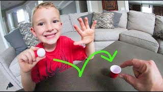 FATHER SON MINI PING-PONG TRICK SHOTS!