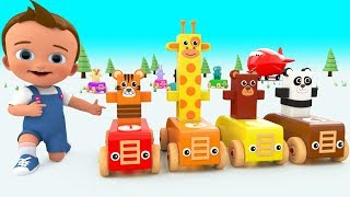 Learning Numbers With Wooden Cartoon Animals Toy Plane for Children Kids Toddler Educational Videos