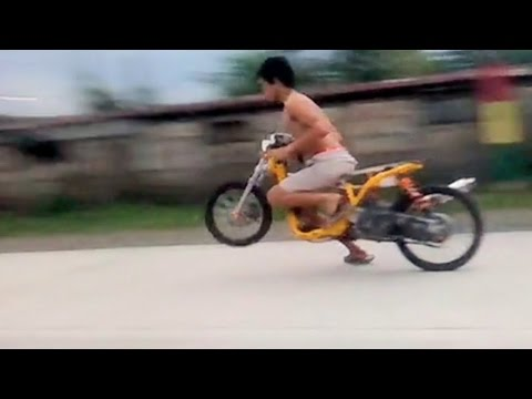 SHiRTLESS drag racer with AWESOME SKILLS and powerful SCOOTER