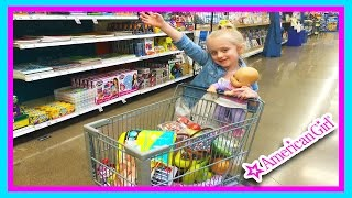 American Girl Bitty Baby Dolls Grocery Shopping Trip & Kid Size Shopping Cart W/ Play Doh Girl