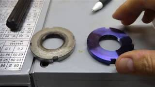 aprilia RS125 Making Fork Lower Ring Nut with Gr5 titanium
