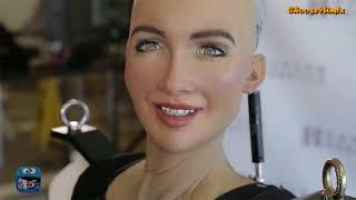 Watch Sophia the robot walk for the first time 2018