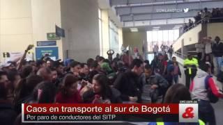 Caos en transporte al sur de Bogotá por paro de conductores del SITP