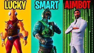LUCKY vs SMART vs AIMBOTTER - Fortnite Battle Royale