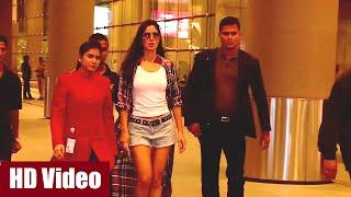 Katrina Kaif in hot short denim pants spotted at Mumbai Airport.