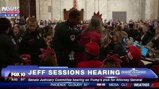 """MUST WATCH: Female Protester INTERRUPTS Jeff Sessions Confirmation Hearing, Calls Room """"Evil"""" - FNN"""