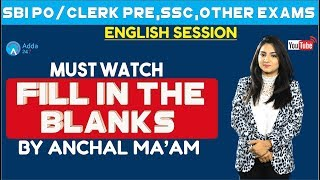Fill in The Blanks  English  SSC CGL ,SBI & Other Bank Exams   Anchal