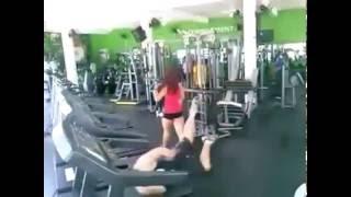 BOy watching  girl on Running Machine in GYm And then Watch
