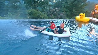Floaty and Leaf Blower in a Pool