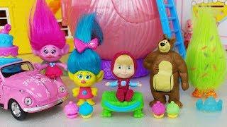 masha and the bear Trolls House and baby doll surprise eggs toys play 마샤와 곰 트롤 하우스 서프라이즈 에그 장난감놀이