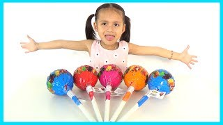 Learn Colors with Giant Lollipops Candy & Baby HaPhuong   Finger Family Nursery rhymes songs for kid