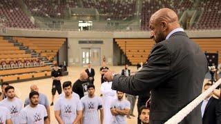 Triple H motivates aspiring Superstars at Saudi Arabia's talent tryout: Exclusive, April 21, 2018