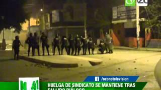 NOTA CONTINUAN ENFRENTAMIENTOS ENTRE POLICIA Y TRABAJADORES DE EMPRESA GLORIA EN CASAGRANDE 27 ABRIL