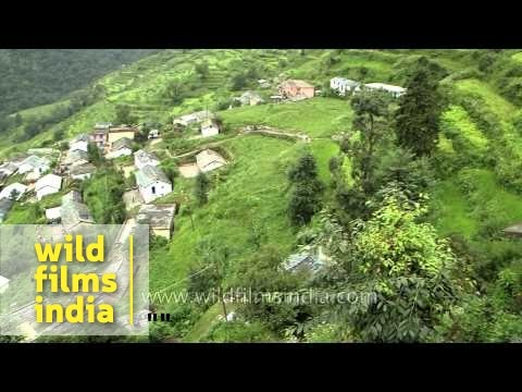 Aerial view of  Mandoli village in Uttarakhand, India