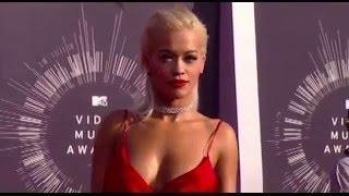 Rita Ora in plunging red dress at MTV VMA Music awards