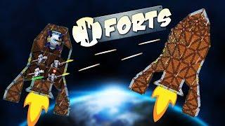 ZERO GRAVITY Rocket CHALLENGE! - Forts Multiplayer Gameplay