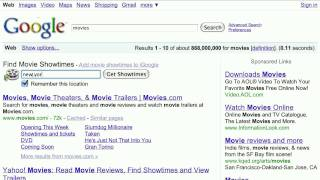 15 second search tip: Movie Times