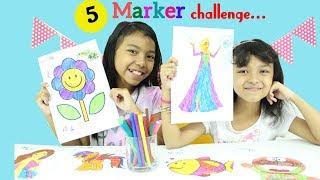 5 MARKER CHALLENGE FOR KIDS ♥ Elsa Frozen, Barbie, Doraemon, Hello KItty, Animal, Flower