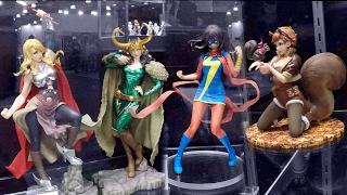 New York Toy Fair 2017 Kotobukiya Booth Tour New Ms Marvel Bishoujo Statue Collection Video