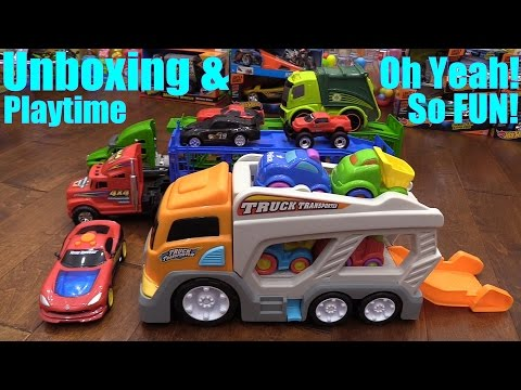 Toy Cars and Trucks for Children Kid Connection Car Carrier Truck Unboxing and Playtime