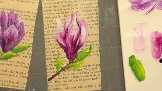 Let's Paint a Magnolia on an Old Book Page!