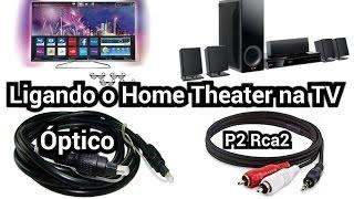 Como Ligar o Home Theater na TV através de cabo Óptico e P2 Rca2 (Dica #3)