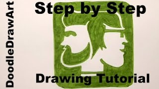 Drawing: How To Draw Rhett and Link's Logo - Good Mythical Morning YouTube Channel