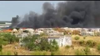 Incendio en el asentamiento chabolista de Lepe