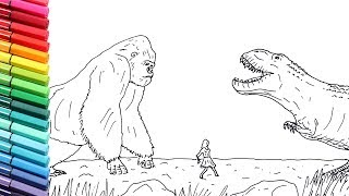 Drawind and Coloring King Kong VS Trex - Dinosaur Color Pages for Children - How to draw King Kong