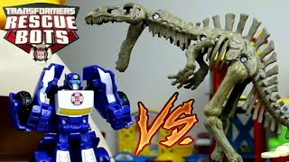 Transformers Rescue Bots vs. Dinosaur Skeletons (Video Episode of Smart Wheel City)