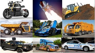 Learning Street Vehicles Names for Kids 🚔 Cars and Trucks 🚚 Police Car Garbage Truck for Children