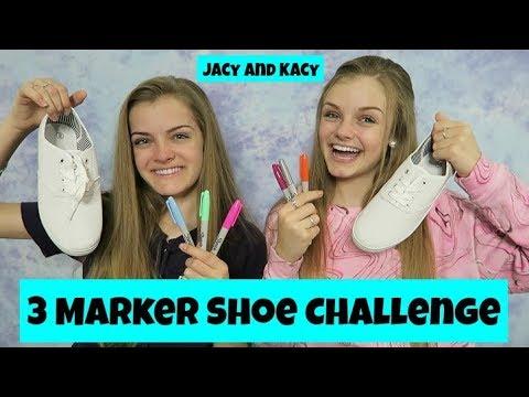 Xxx Mp4 3 Marker Shoe Challenge DIY Fun Shoes Jacy And Kacy 3gp Sex