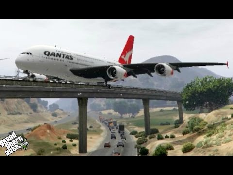 Gignatic AirBus A380 Unbelievable Landing on the Bridge (GTA 5 Funny Moments)