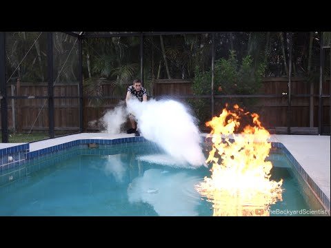 Pouring Liquid Nitrogen in a Pool I set my pool on fire
