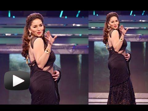 Sexy Madhuri Dixit Walks The Ramp In Hot Black Saree - Late Yash Chopra Birthday 2013