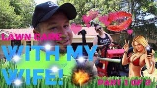 Lawn Care Mowing with my Wife! ► Longest Mower Wheelie Ever!