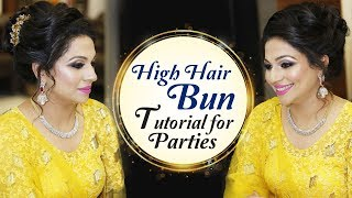 High Hair Bun Tutorial For Parties | Party Hairstyle Tutorial Videos | Krushhh by Konica