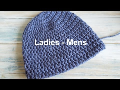 (crochet) How To - Crochet a Simple Beanie for Ladies - Mens Size (22