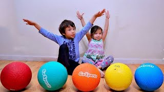 Learn Colors Playing Catch with Playground Ball for Toddlers and Children