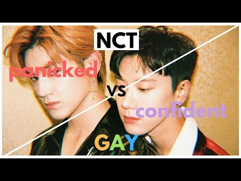 more of nct being the confident vs. panicked gay meme