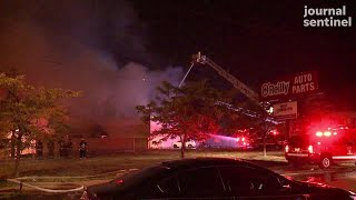 The Sherman Park civil unrest event: Firefighters battle auto parts store fire