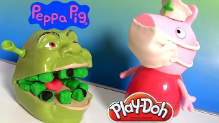Peppa Pig Brincando de Dentista no Shrek | Play Doh Nurse Peppa Pig Fix Shrek Rotten Root Canal BR