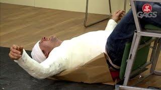 Injured Man Falls Off Chair