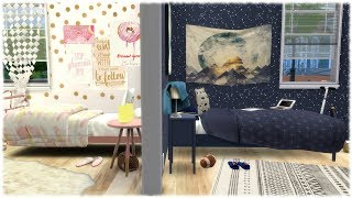 The Sims 4: Speed Build // OPPOSITES TWIN ROOMS GIRLY VS SPORTY + CC Links