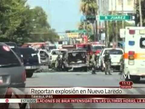 Explota camioneta frente a la presidencia de Nuevo Laredo