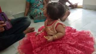 Nine months baby dancing for chiru song(khaidi no 150)ammadu..Let's do kumuduu