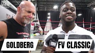 Goldberg rips & blows nose in a Brock Lesnar T-shirt (2016)