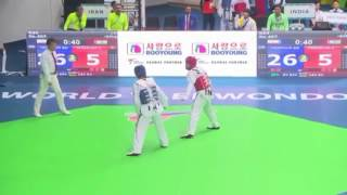 India vs Iran men  54kg World Taekwondo Championship, Muju