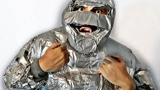 100 ROLLS OF DUCT TAPE SUIT (ULTIMATE 100 LAYER CHALLENGE)