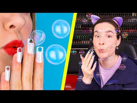 Testing Useless Nail Hacks Blowing Bubbles Through My Nails
